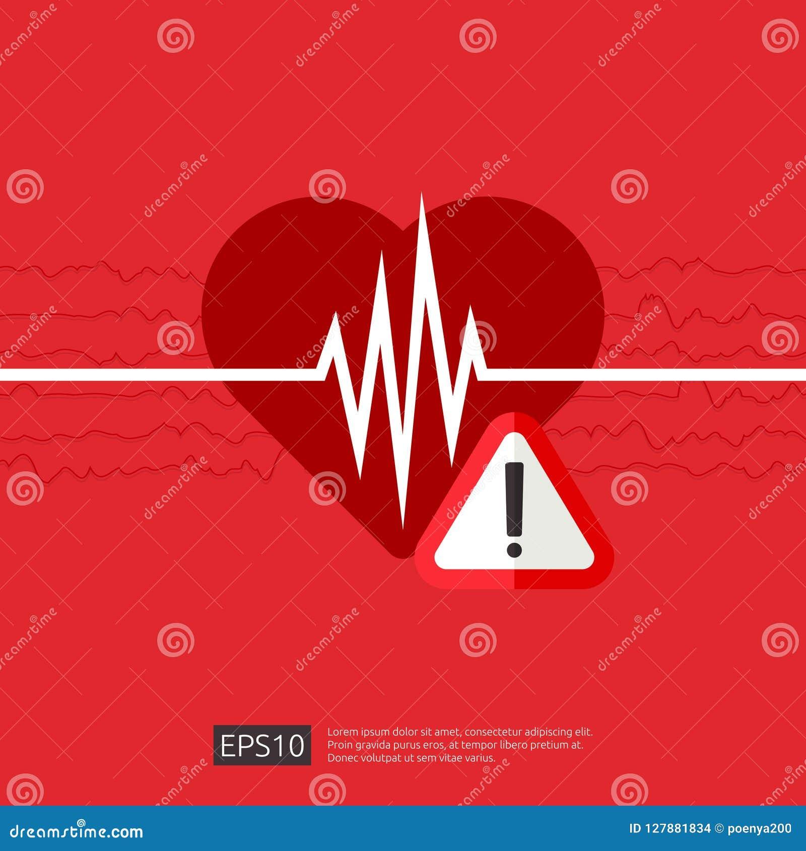 Symbole d alerte de crise cardiaque de danger icône d impulsion de battement de coeur ou de battement cardiologie de soin de coeu