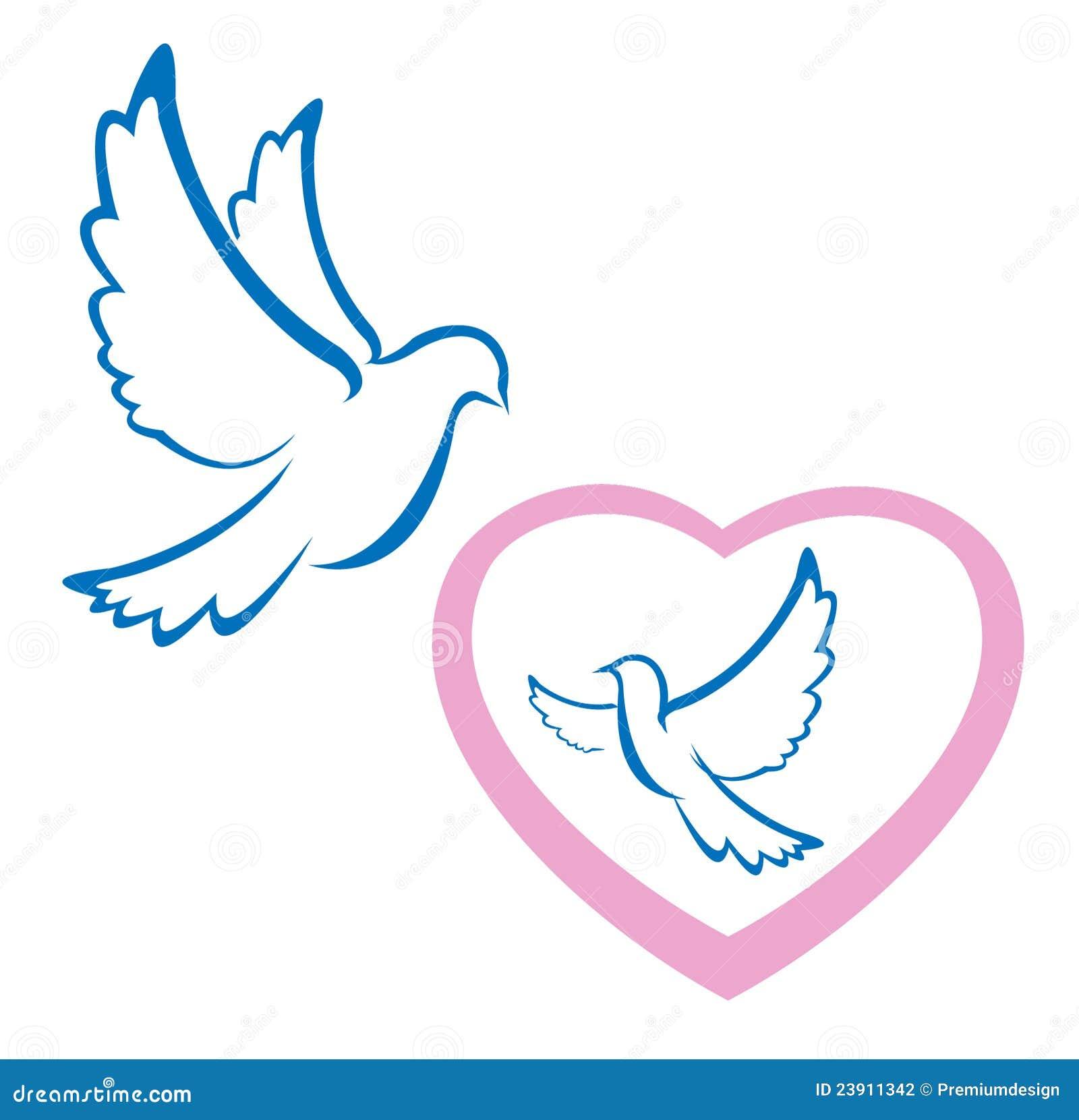 Symbole d 39 amour de colombe illustration de vecteur - Clipart amour ...