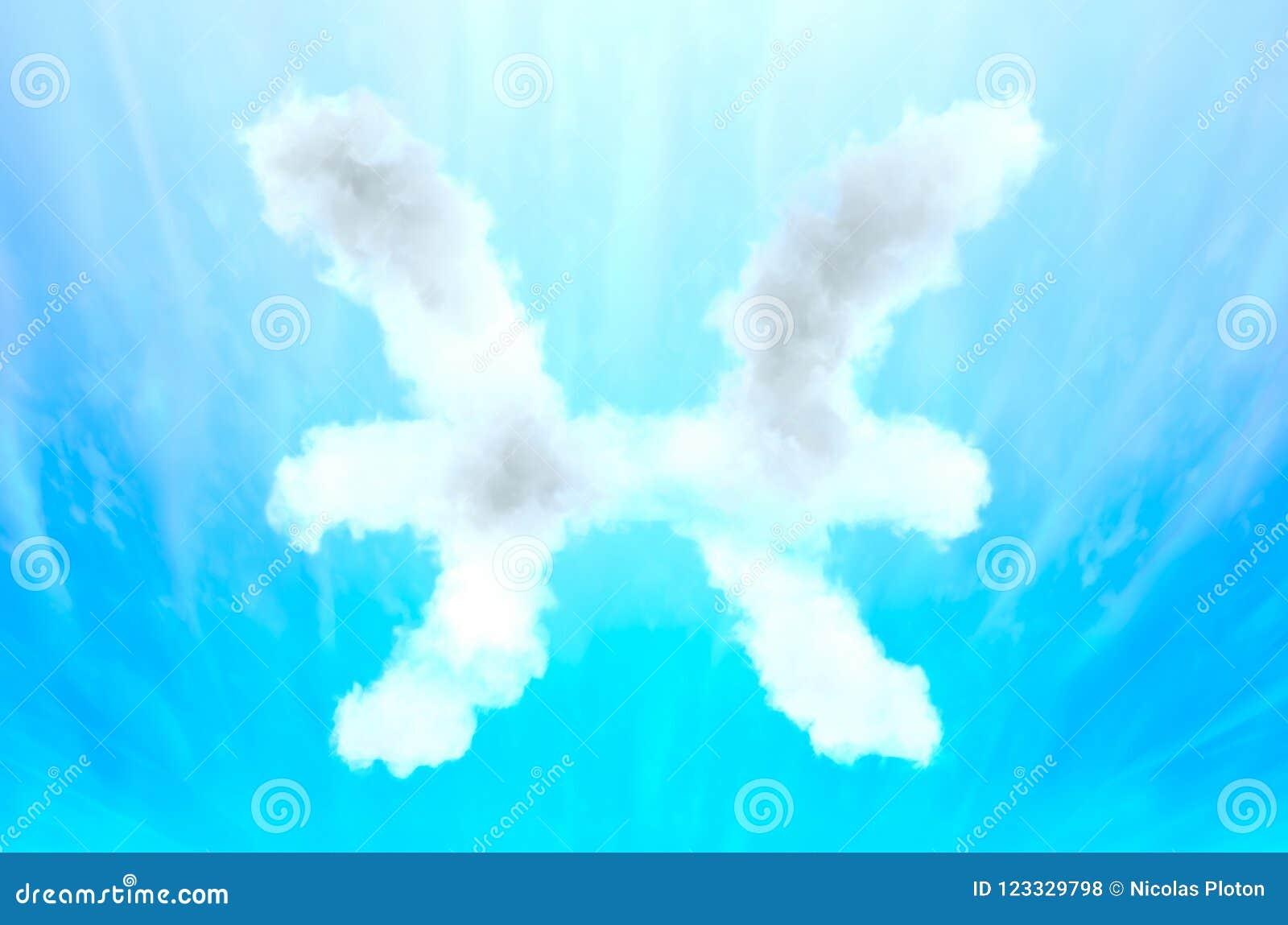 Symbole d astrologie en matériel de nuage - Poissons