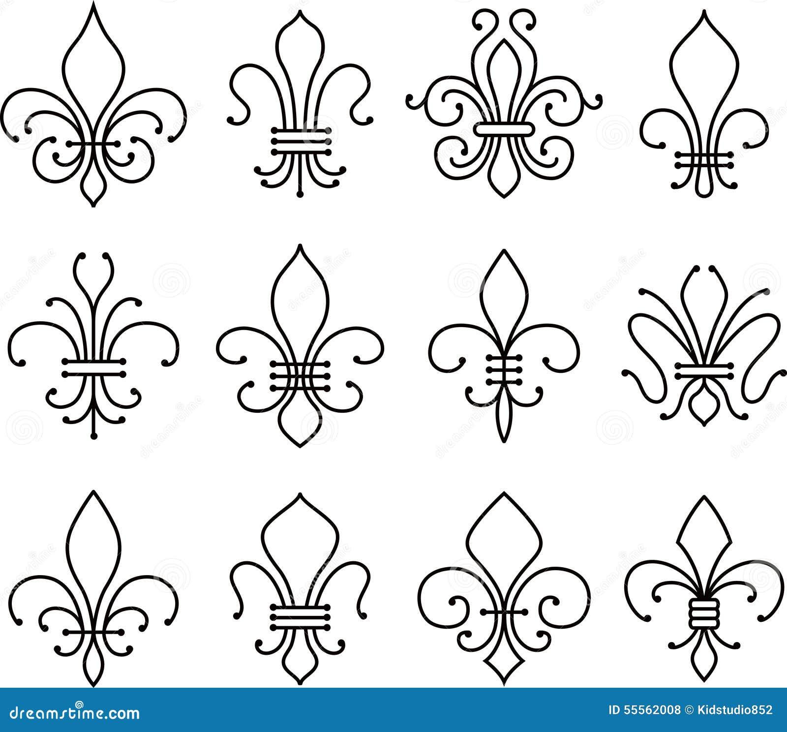 Symbole d 39 l ments de rouleau de fleur de lys illustration de vecteur image 55562008 - Symbole fleur de lys ...