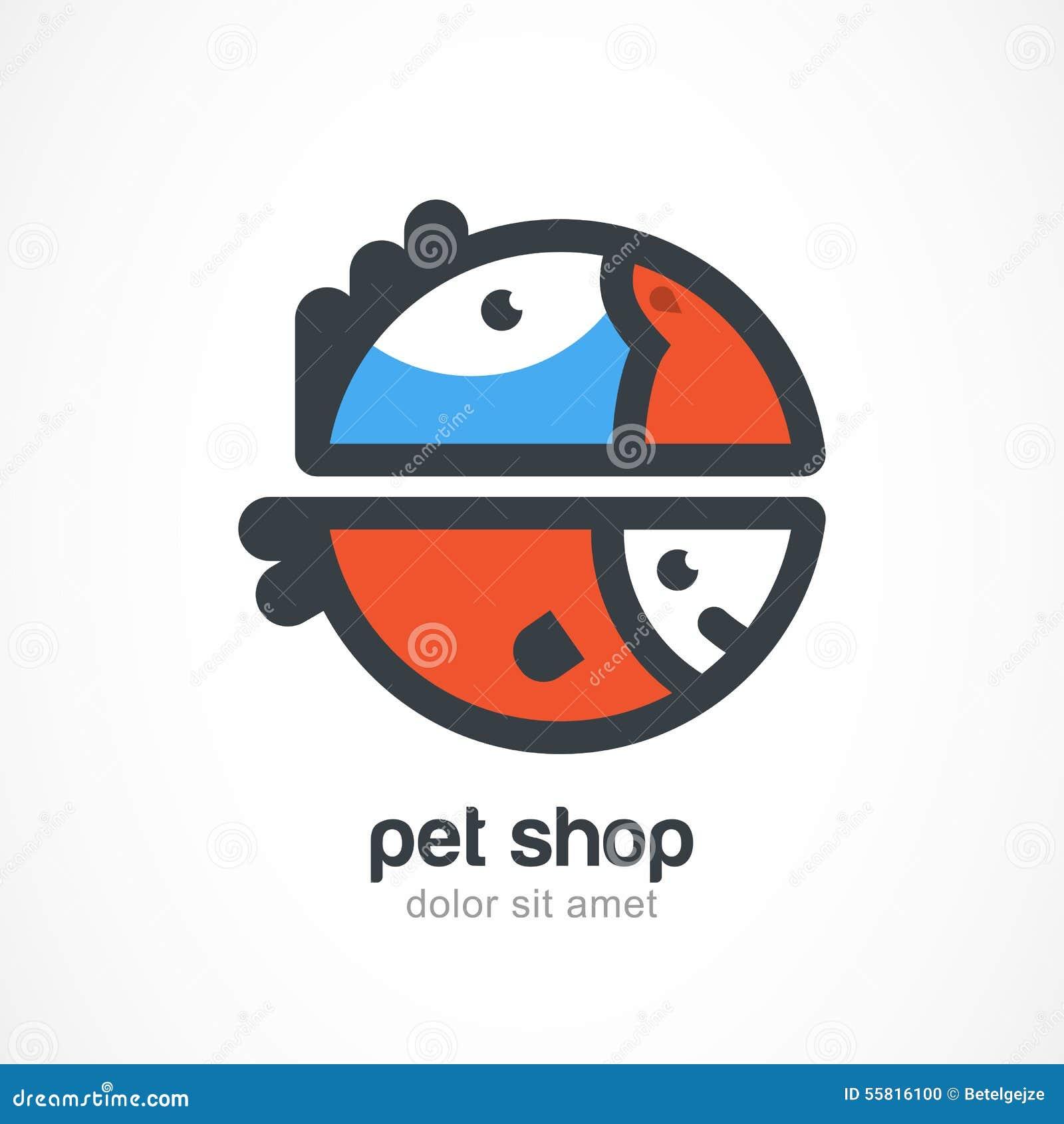 Symbole d oiseau tropical et de poissons Calibre de conception de logo de vecteur