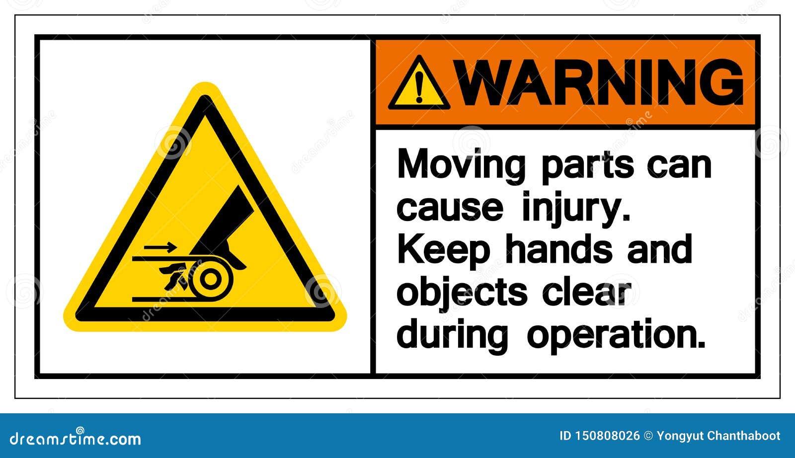 Symbole de avertissement de blessure de cause de pièce mobile, illustration de vecteur, isolat sur l icône blanche de fond EPS10