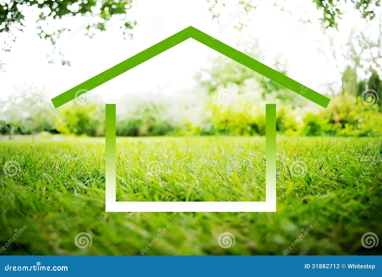 Symbole de chambre sur un paysage vert photographie stock for Paysage vert