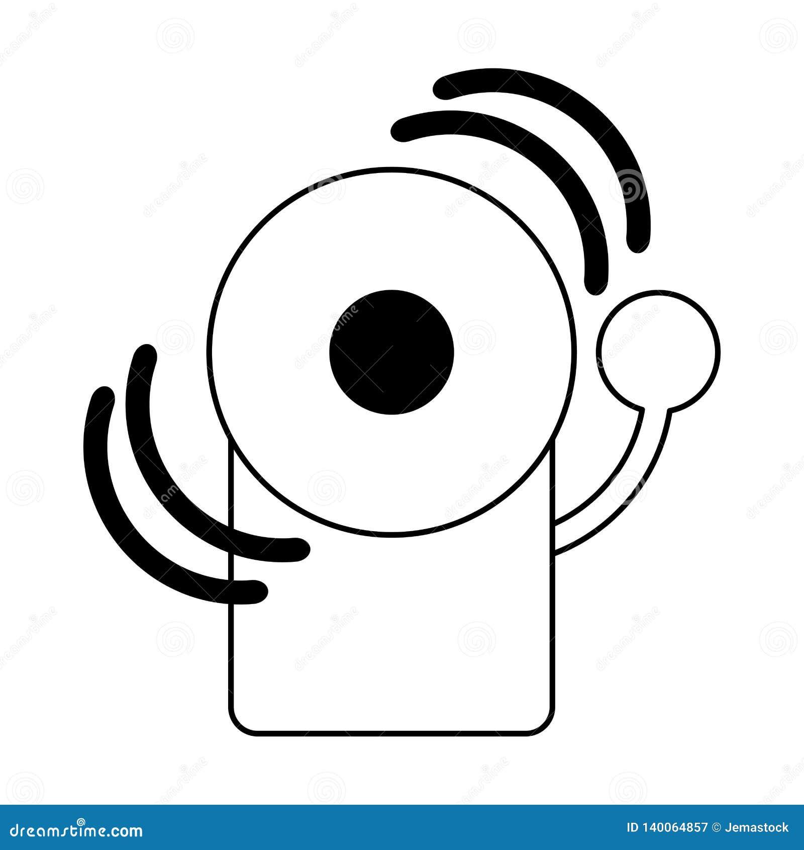 Symbole de cloche de secours du feu noir et blanc