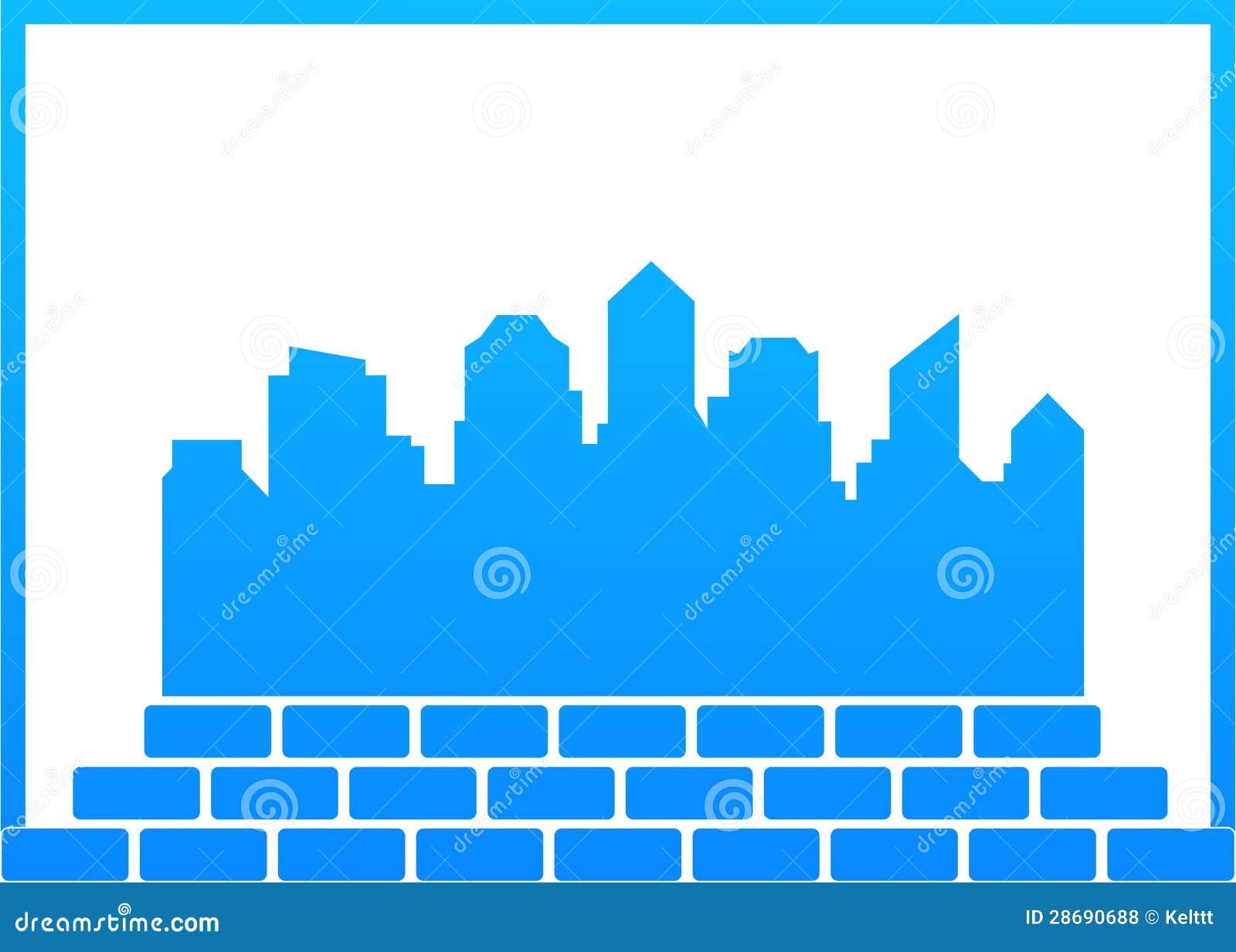 symbole de construction avec la ville et les briques illustration de vecteur illustration du. Black Bedroom Furniture Sets. Home Design Ideas