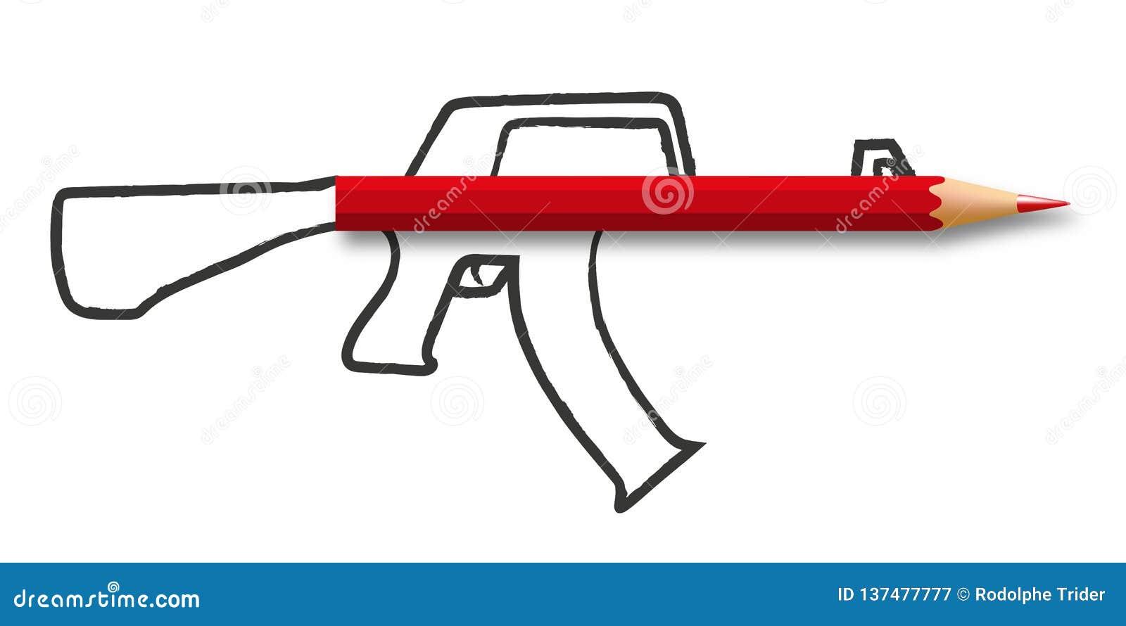 Symbole de guerre de l information avec un crayon lié à une arme