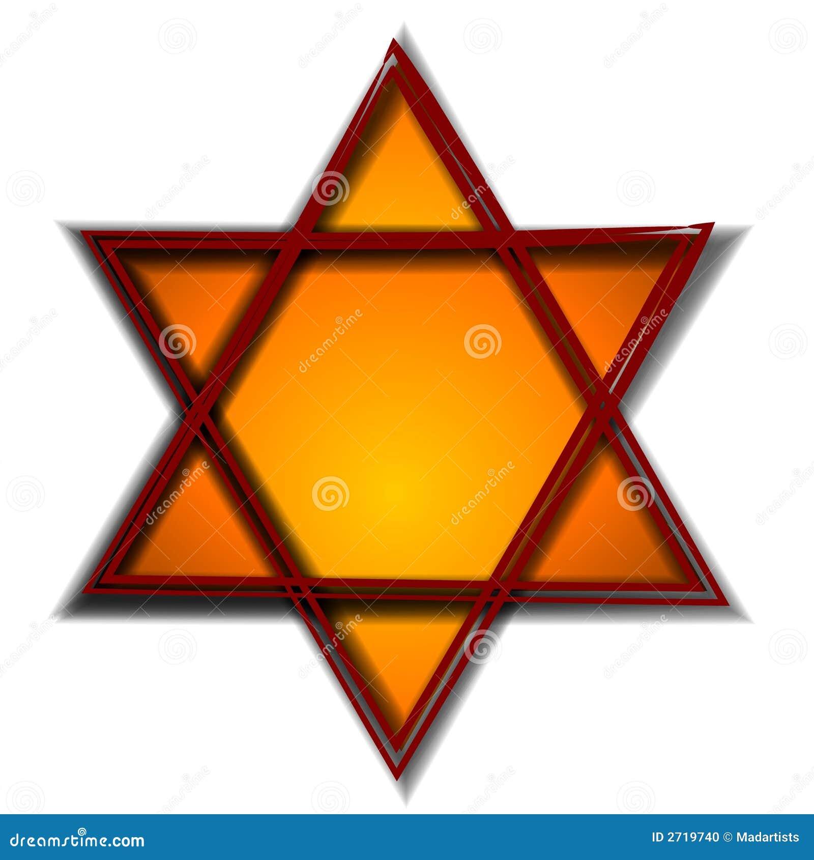 Symbole de Hexagram en or rouge