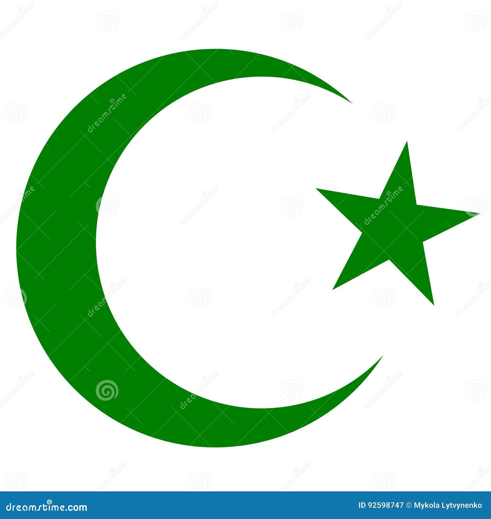 symbole de l 39 islam du croissant et de l 39 toile vert fonc. Black Bedroom Furniture Sets. Home Design Ideas
