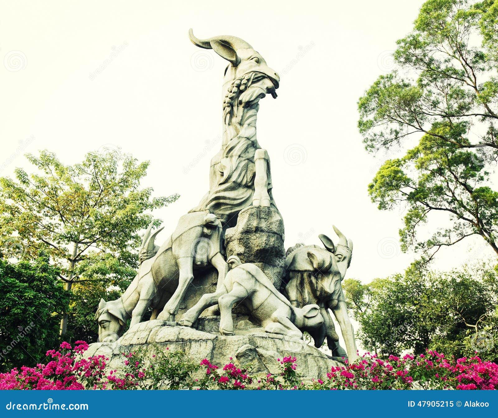 Symbole de la ville de Guangzhou, point de repère de Guangzhou, statue de cinq chèvres