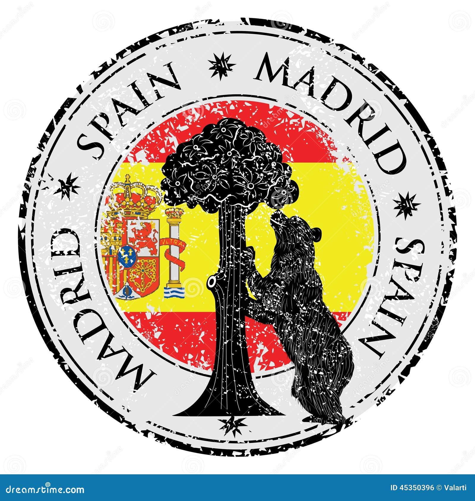 Symbole de Madrid - statue d ours et de vecteur d arbousier