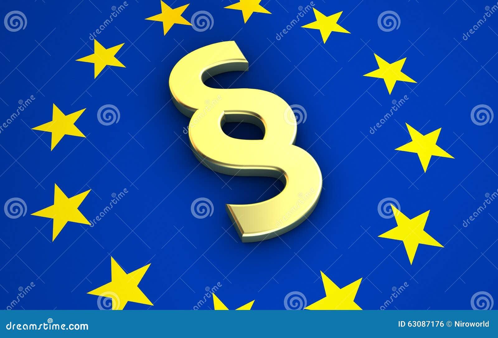 Download Symbole De Paragraphe Sur Le Drapeau D'UE Illustration Stock - Illustration du judiciaire, droites: 63087176