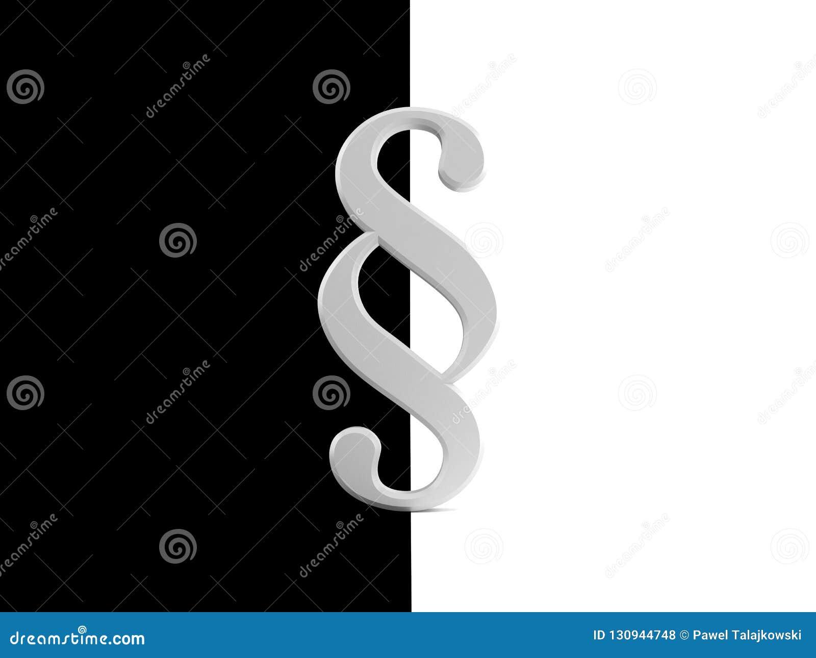 Symbole de paragraphe sur le fond noir et blanc