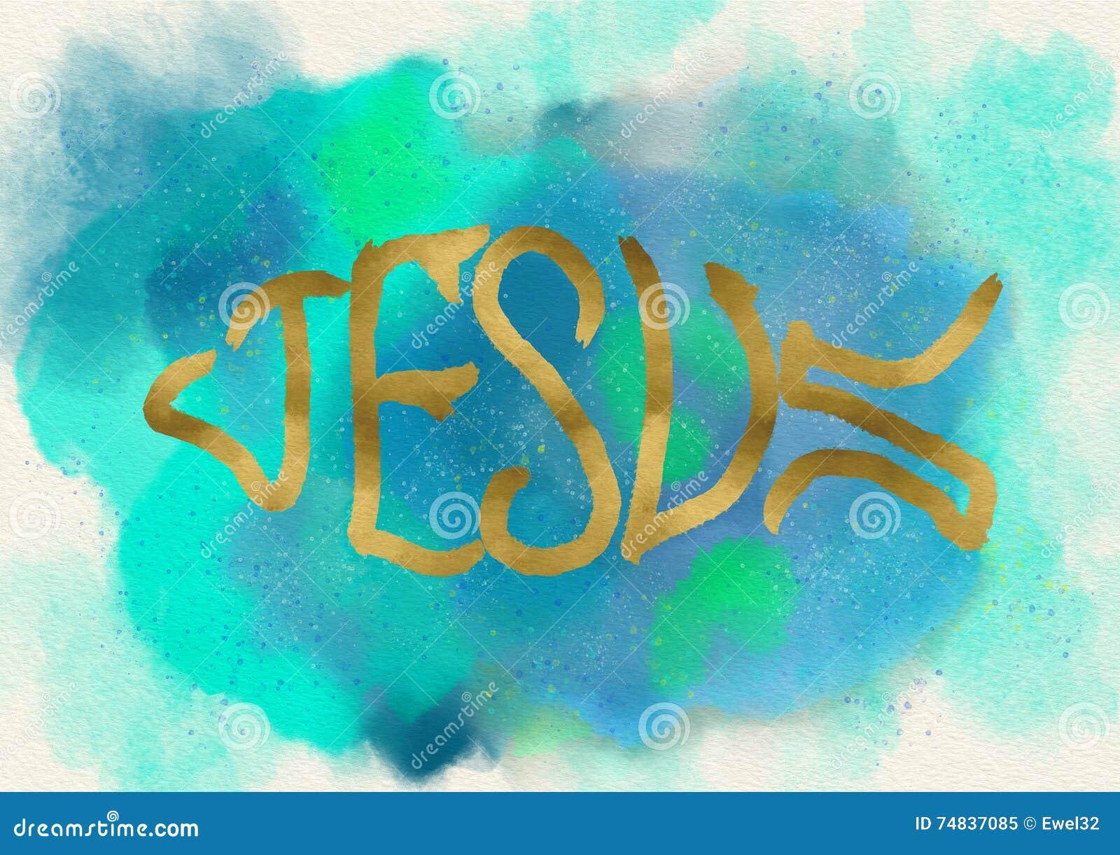 Symbole de poissons de Jésus Logo chrétien watercolor