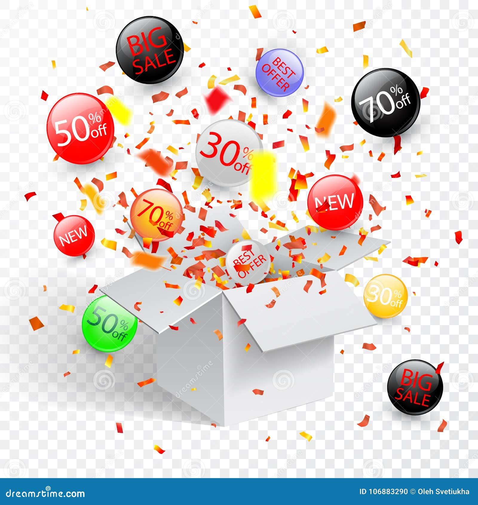 Symbole de remise de vente d offre spéciale avec les labels ouverts de cadeau et d écoulement Facile à utiliser pour votre concep