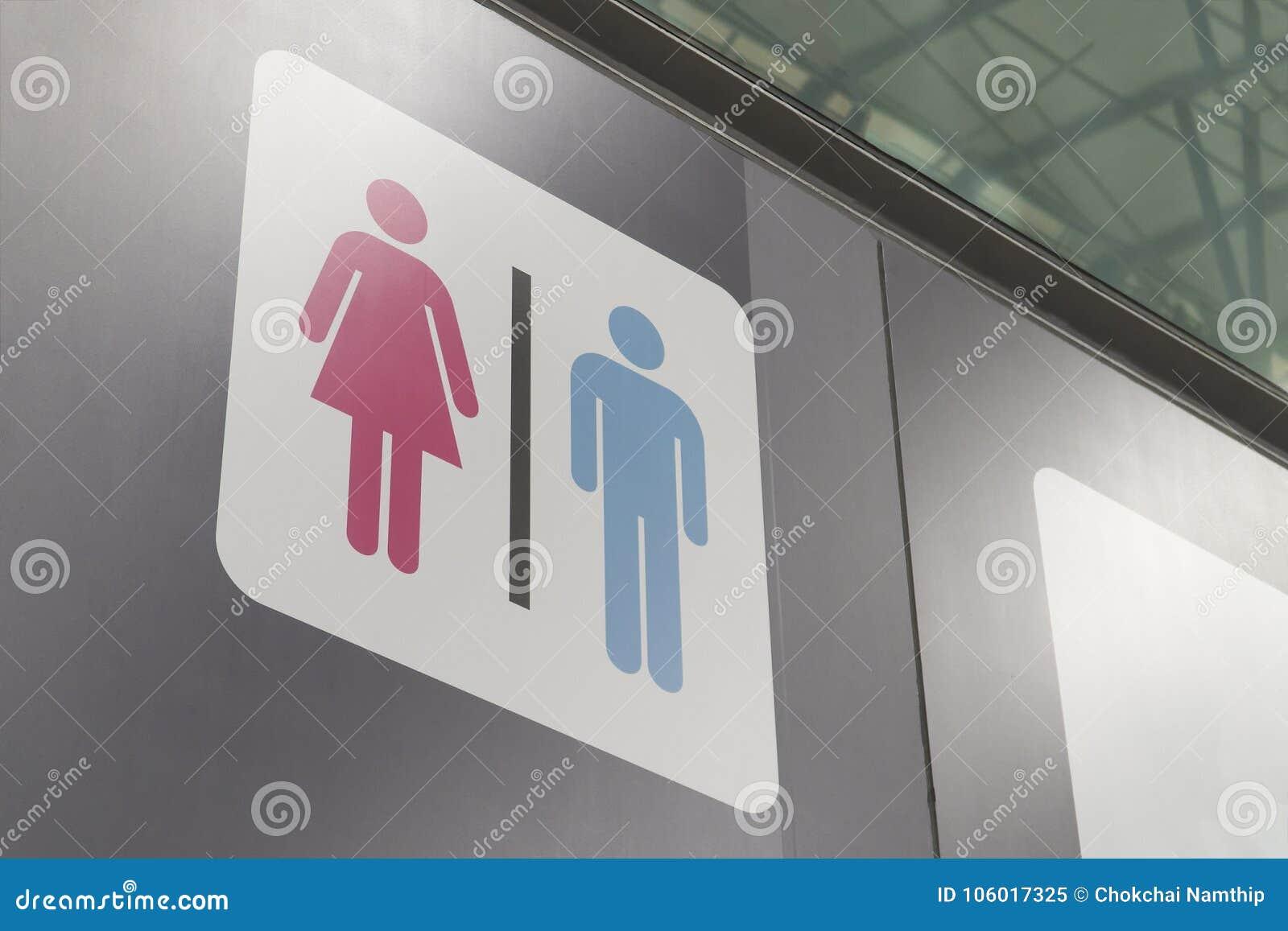 Symbole De Salle De Bains Hommes-femmes, Bleu Masculin Rose Femelle ...