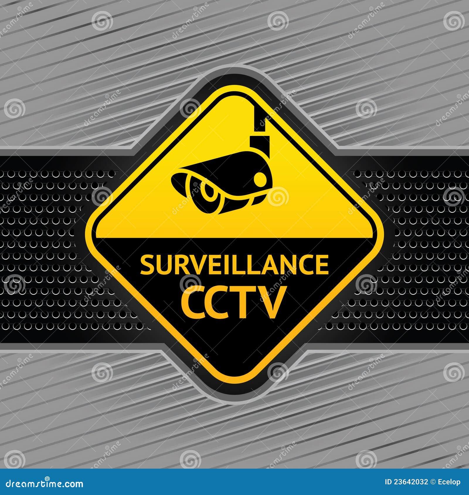 Symbole de télévision en circuit fermé sur un descripteur industriel de fond