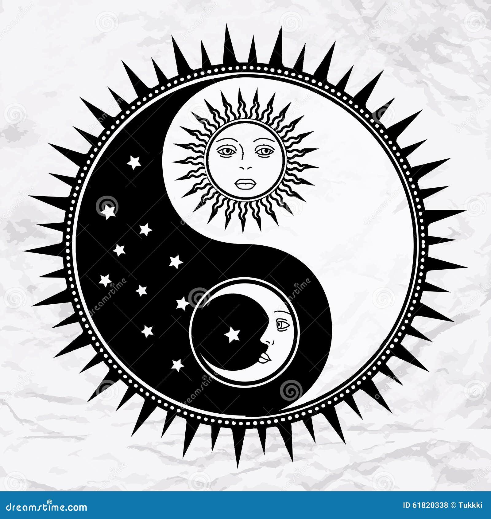 Symbole de yang de yin avec la lune et le soleil illustration de vecteur illustration du magie - Lune et soleil tatouage ...