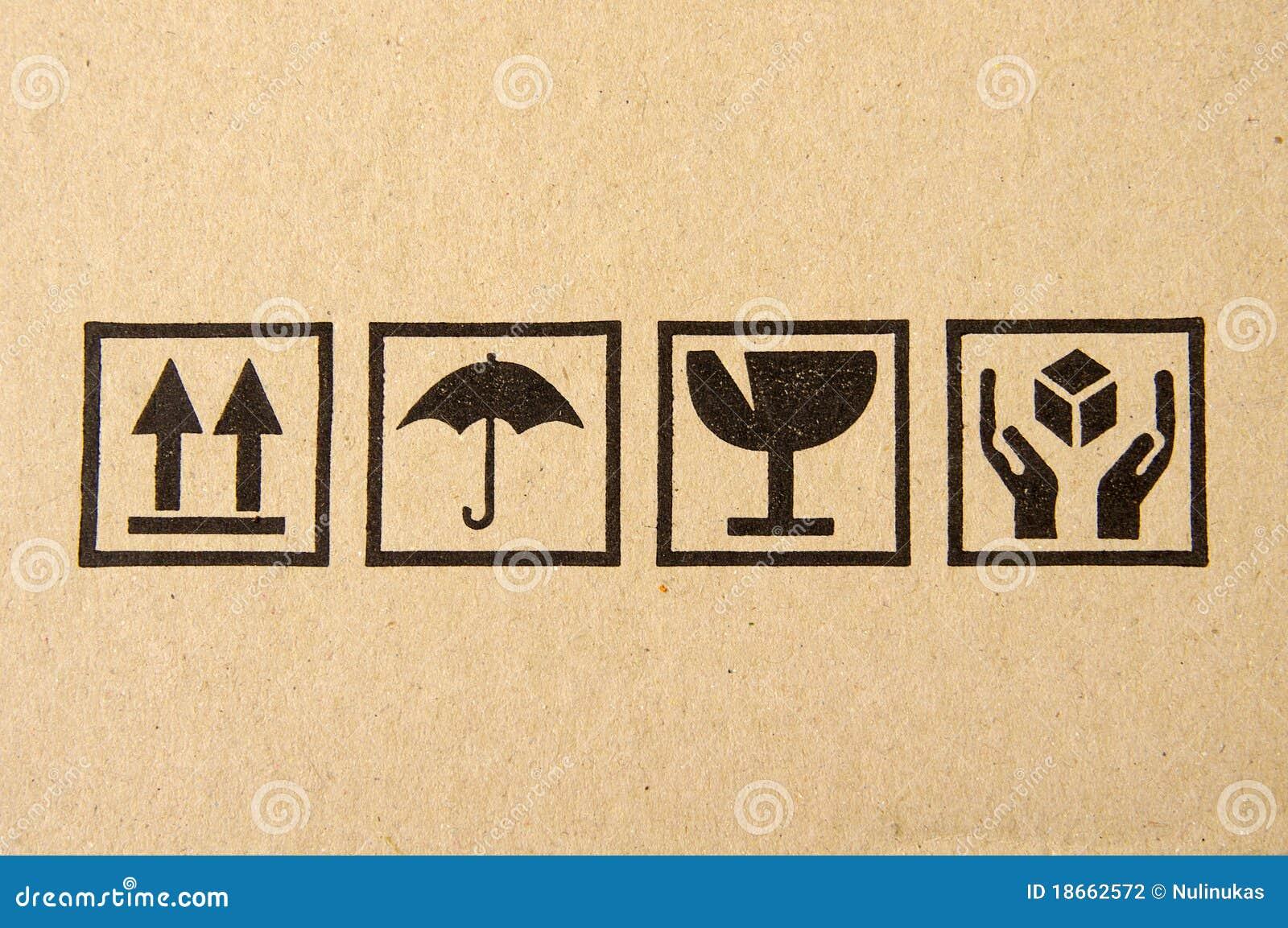 Symbole fragile noir sur le carton