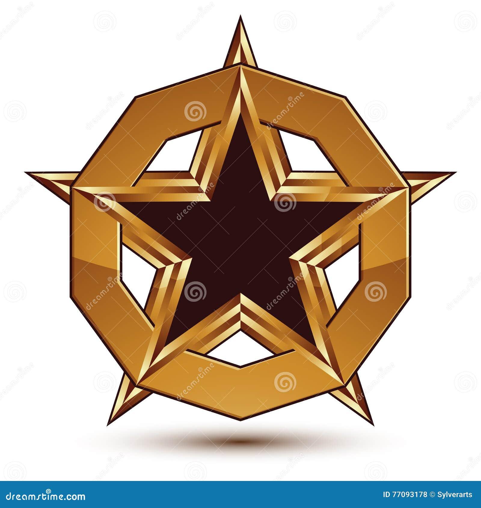 Symbole Géométrique Dor Marqué étoile Noire Stylisée Avec