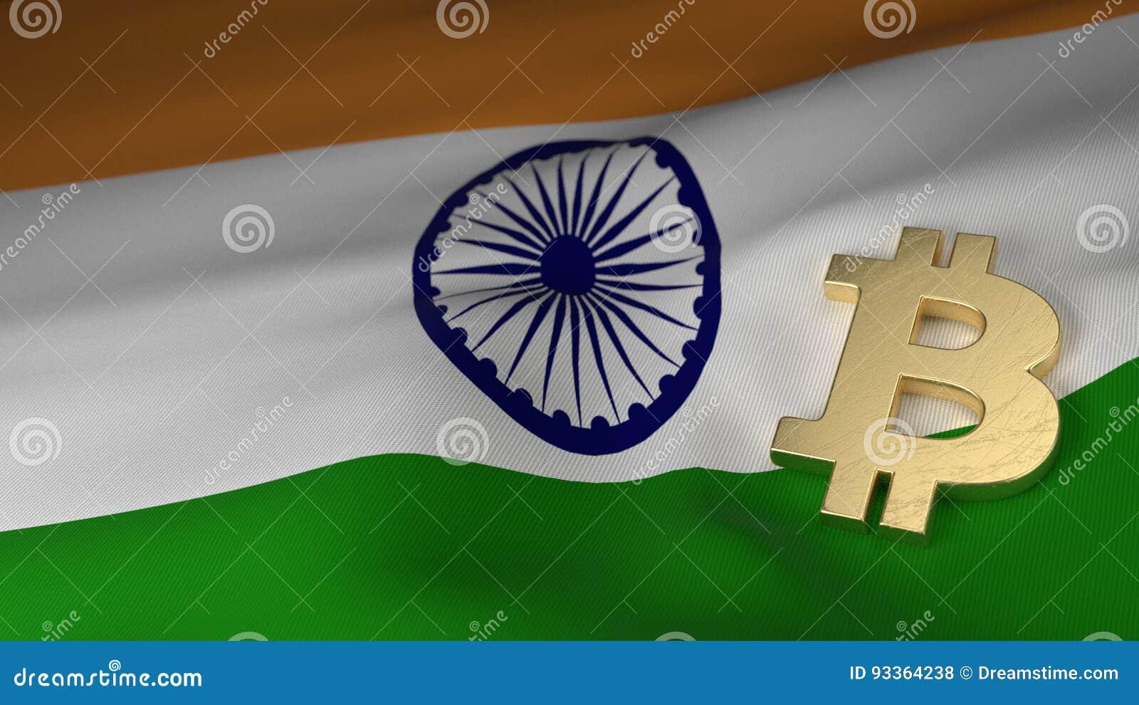Symbole monétaire de Bitcoin sur le drapeau de l Inde