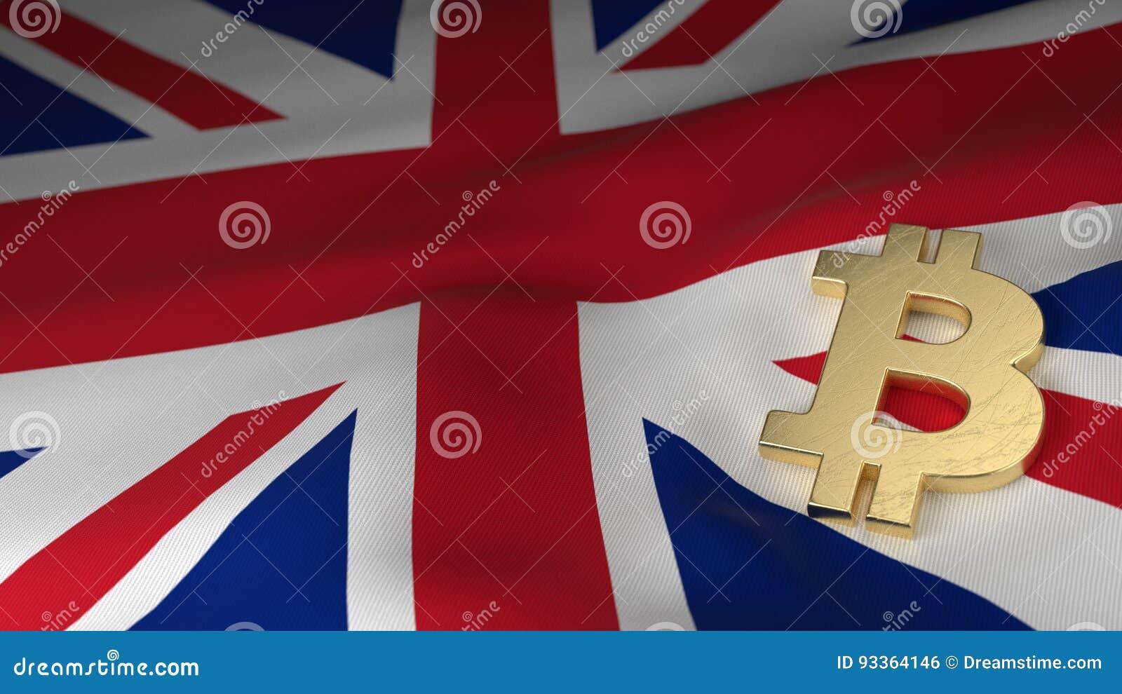 Symbole monétaire de Bitcoin sur le drapeau du Royaume-Uni
