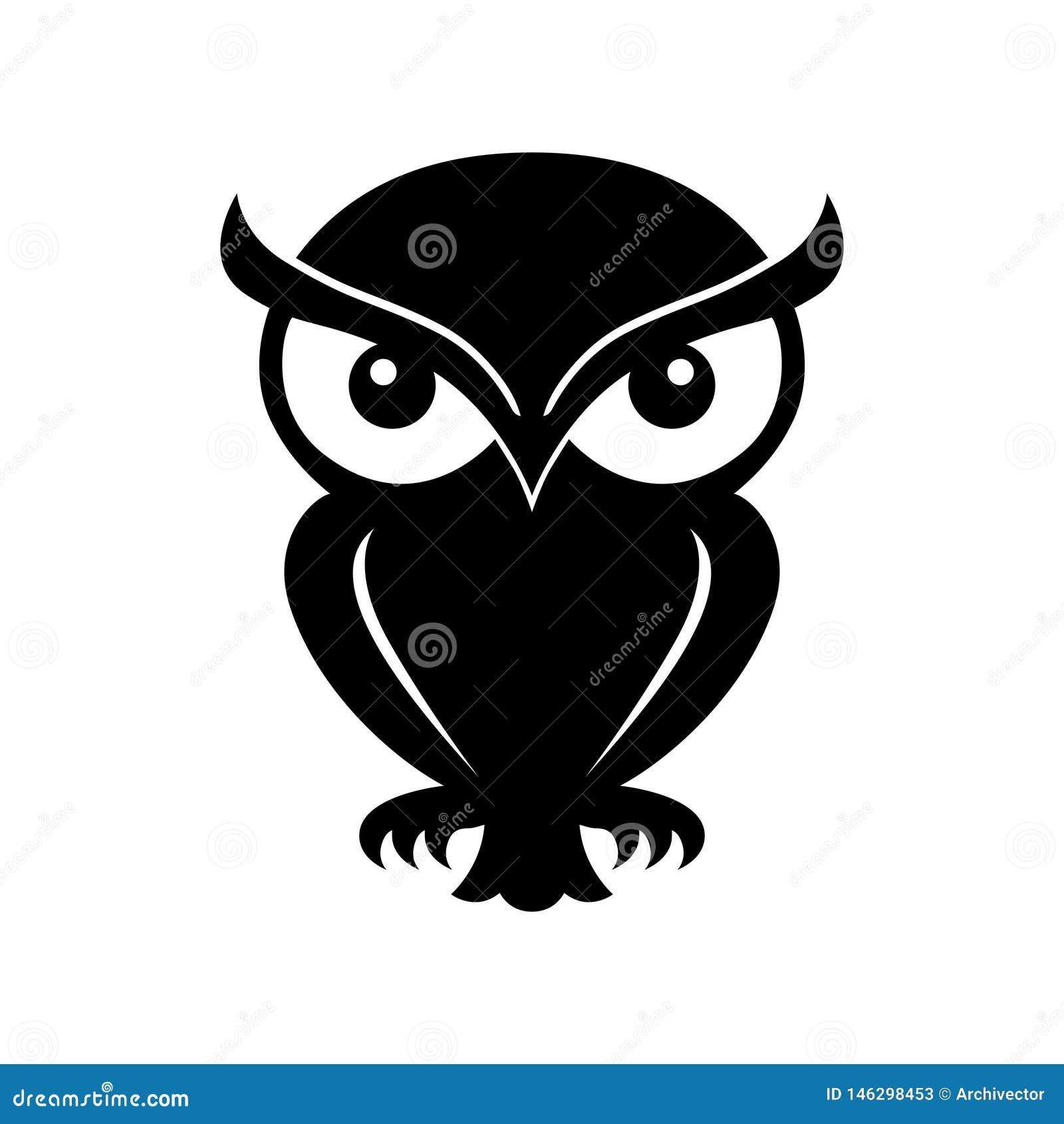 Symbole noir graphique de hibou logo