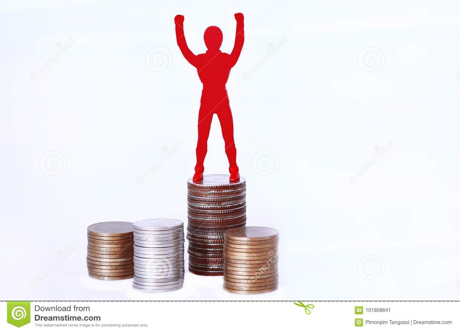 Symbole puissant de personnes sur l argent de pièces de monnaie