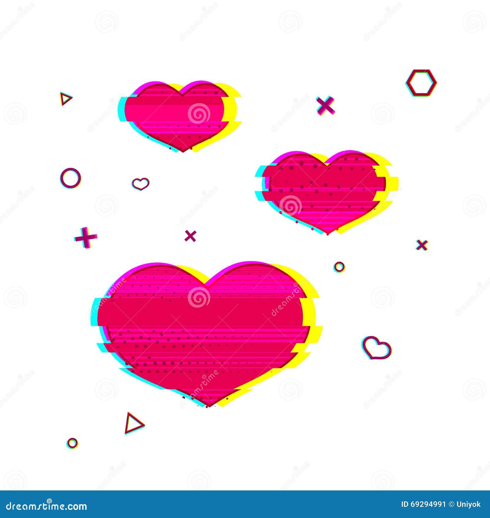 Symbole romantique de coeur de problème Symbole rose de coeur avec la texture de bruit Couleur romantique de rose de style de pro