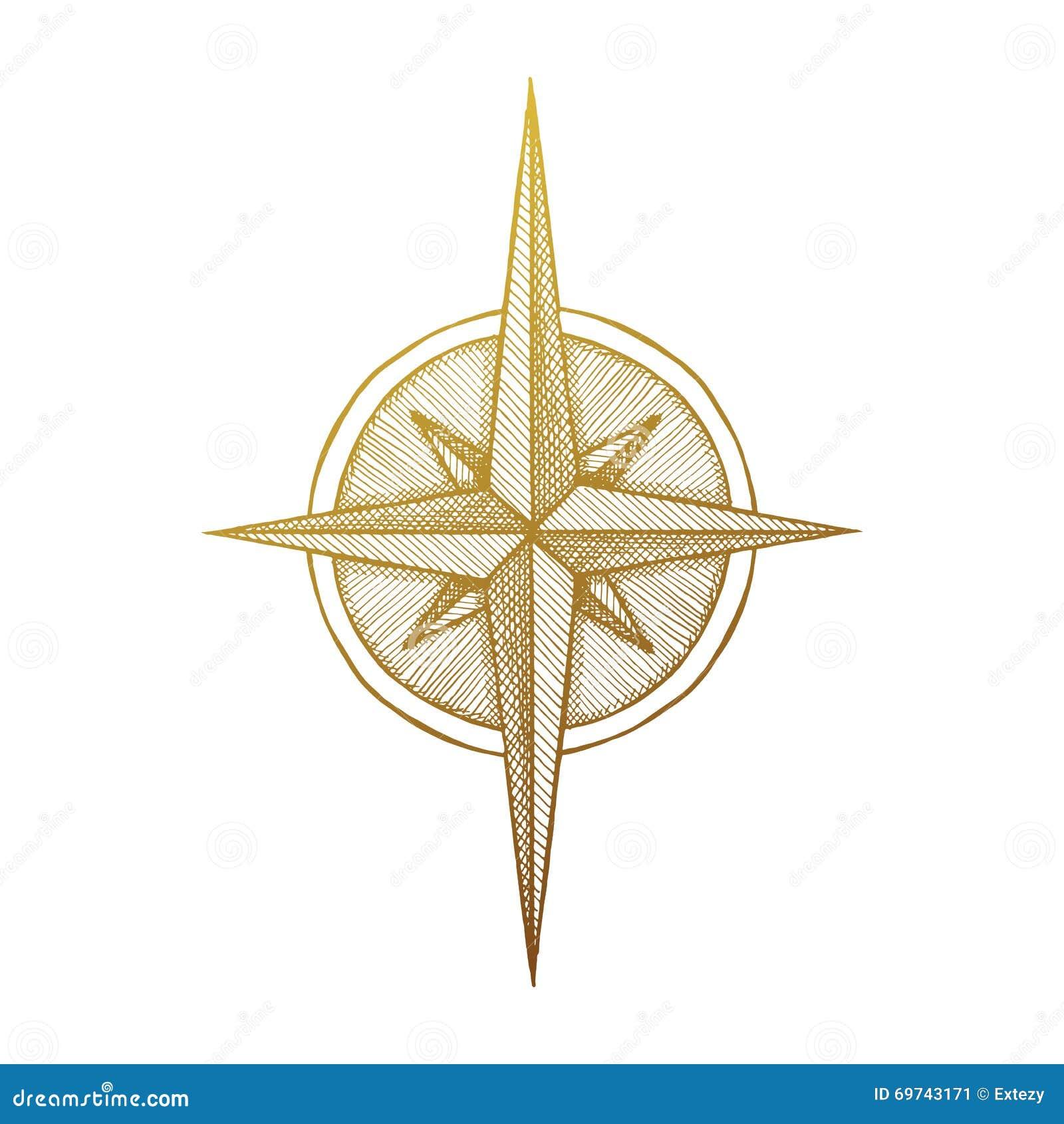 symbole rose de vent tir par la main de boussole illustration de vecteur illustration 69743171. Black Bedroom Furniture Sets. Home Design Ideas