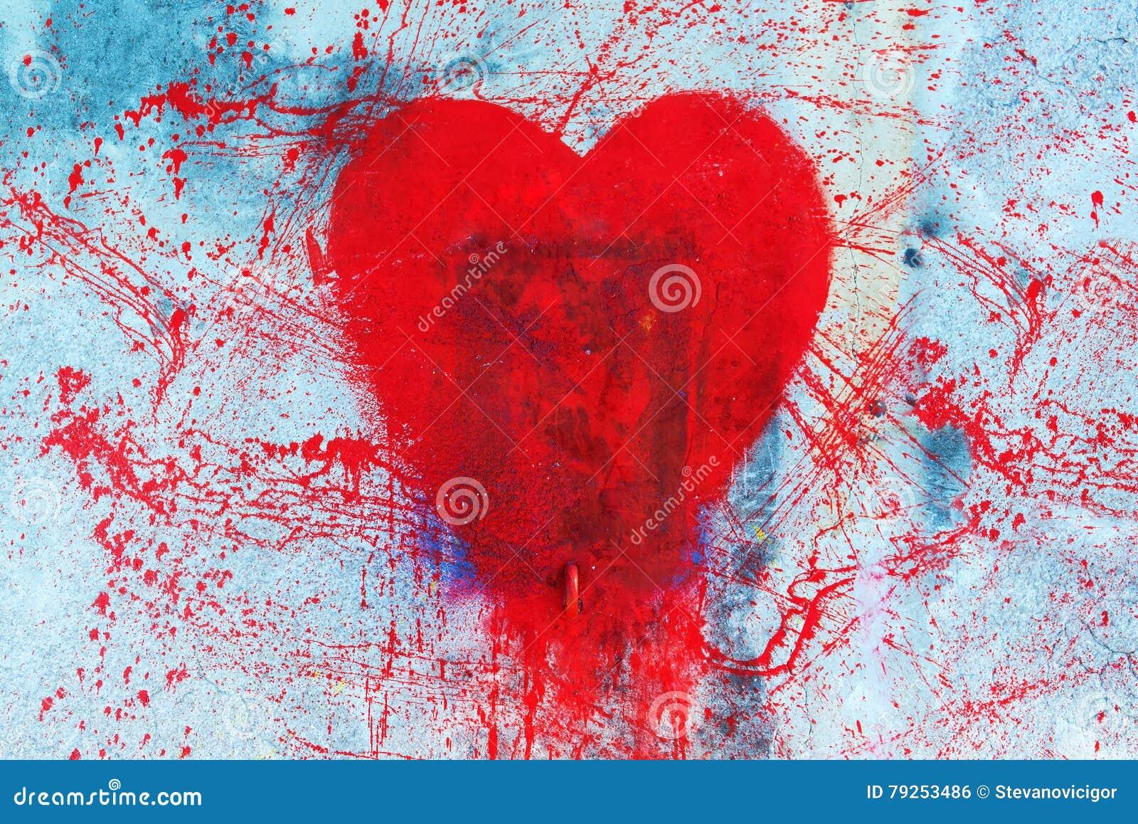 symbole rouge de graffiti de forme de coeur sur le mur photo stock image du claboussure. Black Bedroom Furniture Sets. Home Design Ideas