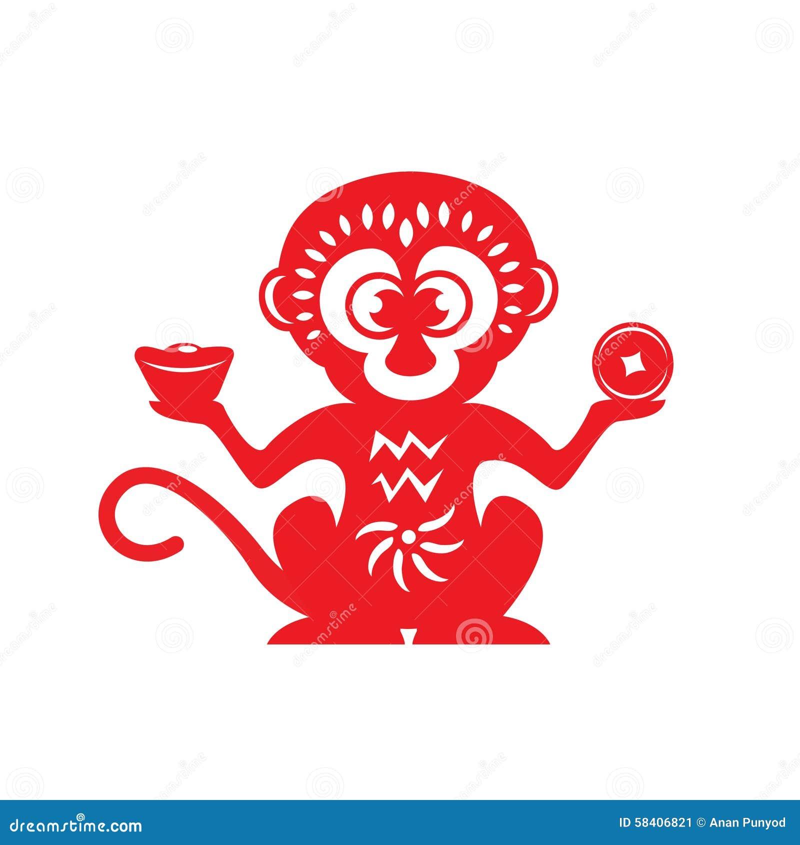 Symbole rouge de zodiaque de singe de coupe de papier (singe tenant l argent)