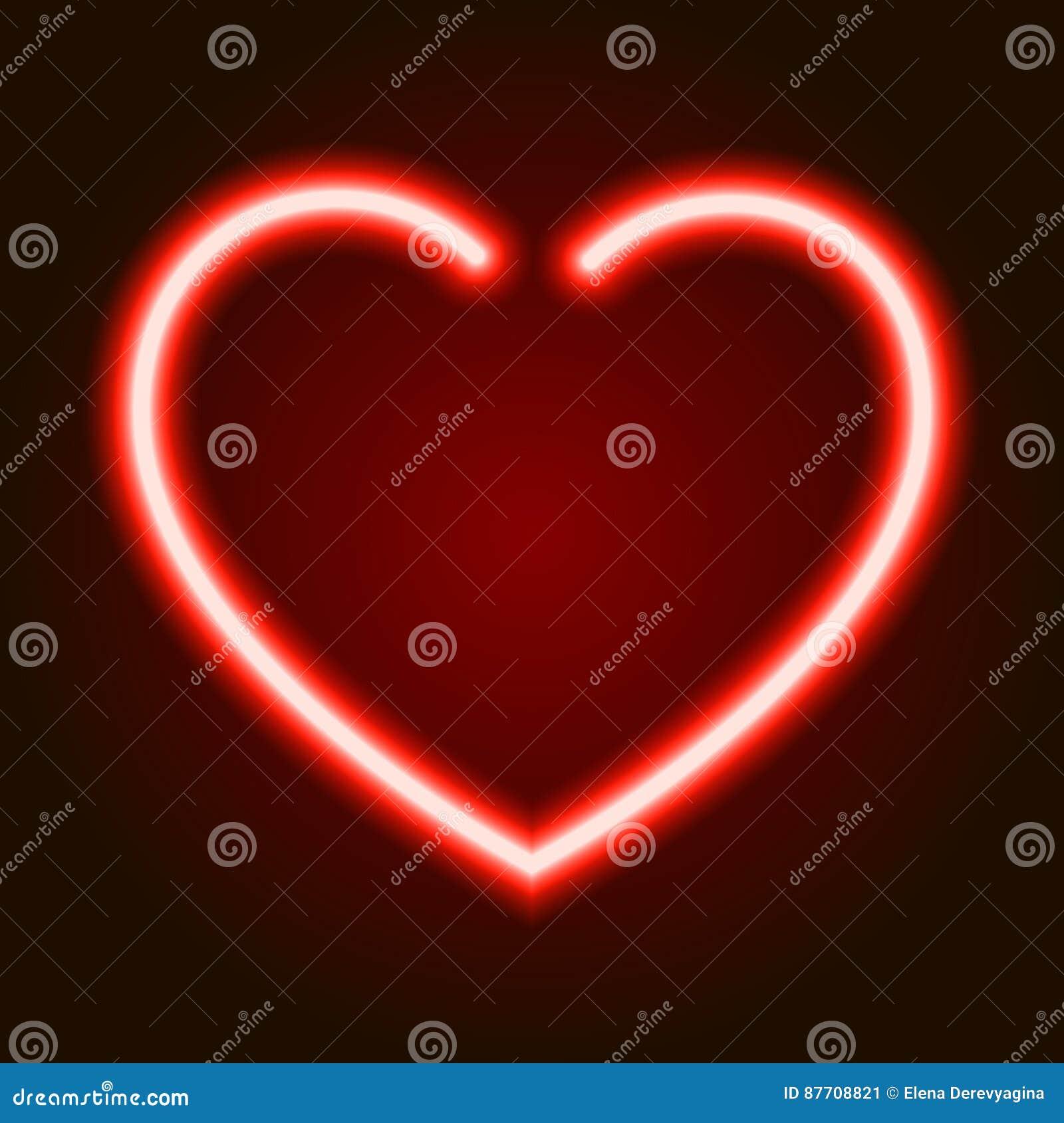 Symbole rougeoyant au néon rouge de coeur de l amour sur le fond foncé de l illustration