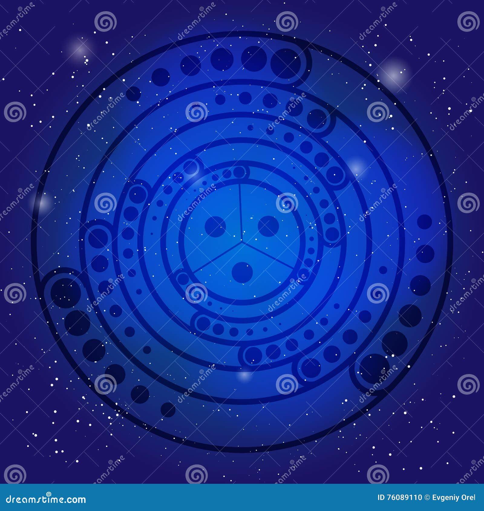 Symbole sacré de chant religieux sur le ciel cosmique bleu profond La géométrie sacrée en univers