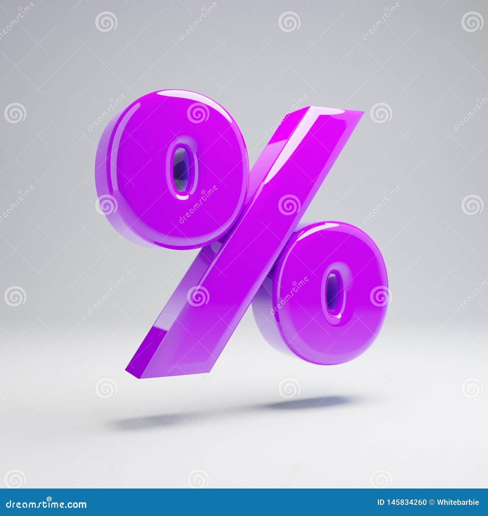 Symbole violet brillant volumétrique de pour cent d isolement sur le fond blanc
