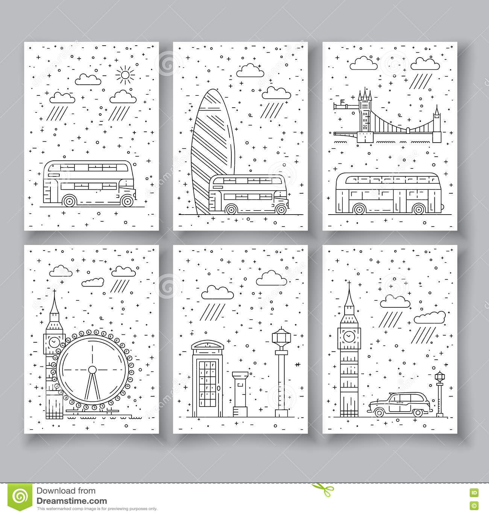 Symbole von London-Stadt in den Skylinen
