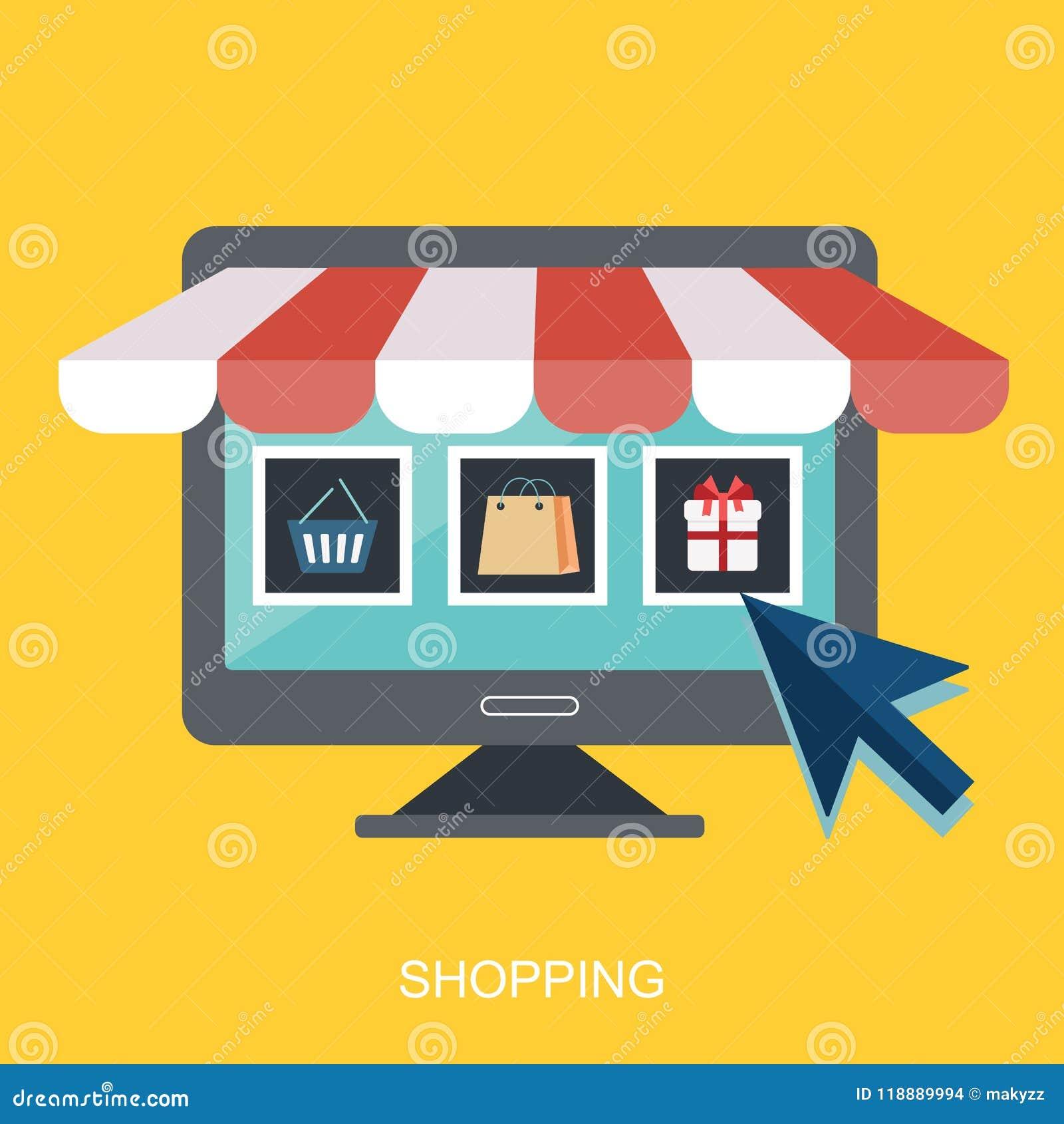Symbolen shoppar direktanslutet, designen för affärssymbolslägenheten App-symboler, sida för rengöringsdukidénätverk, faktisk sho