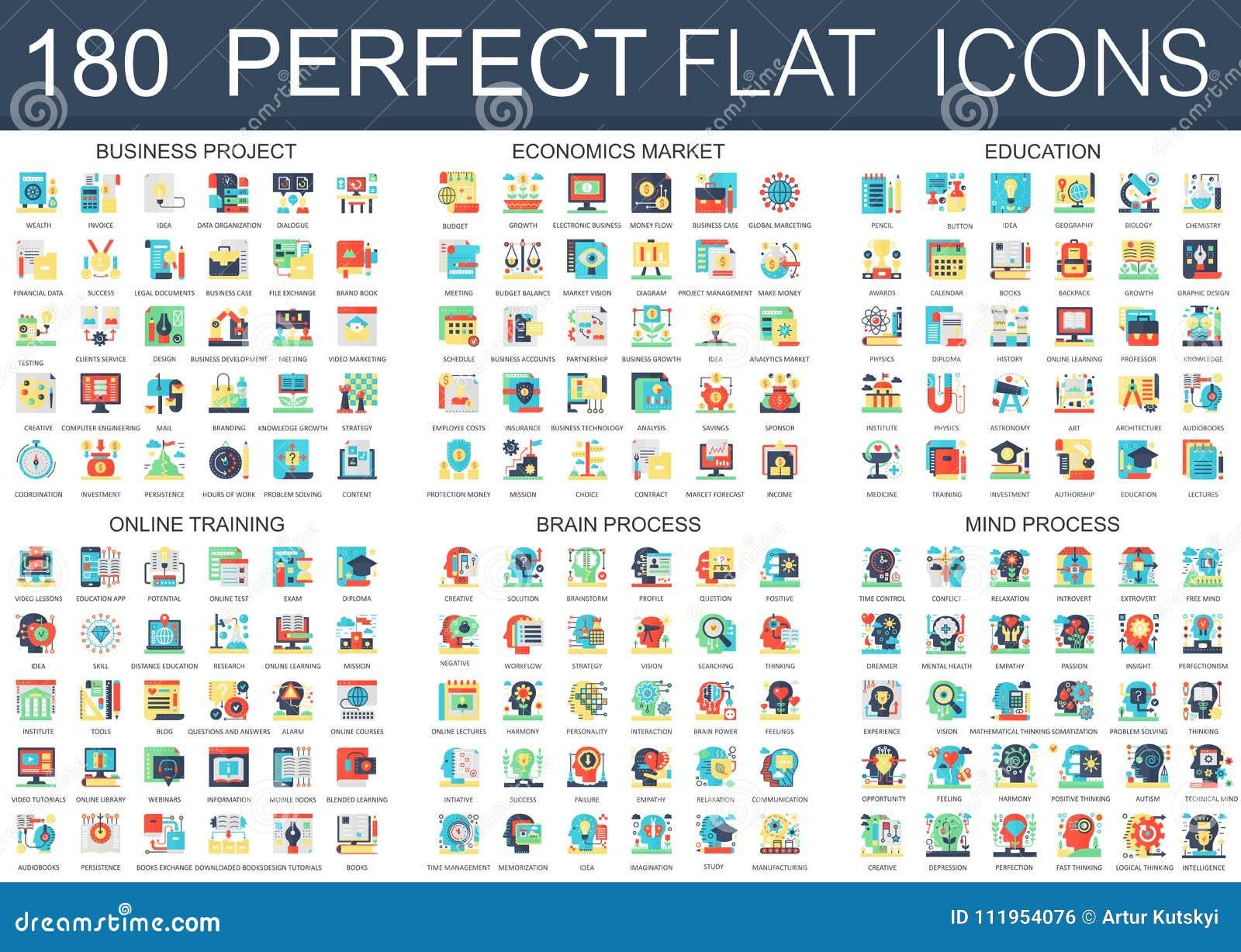 180 symboler för begrepp för symboler för vektorkomplexlägenhet av affärsprojektet, nationalekonomimarknad, utbildning, online-ut