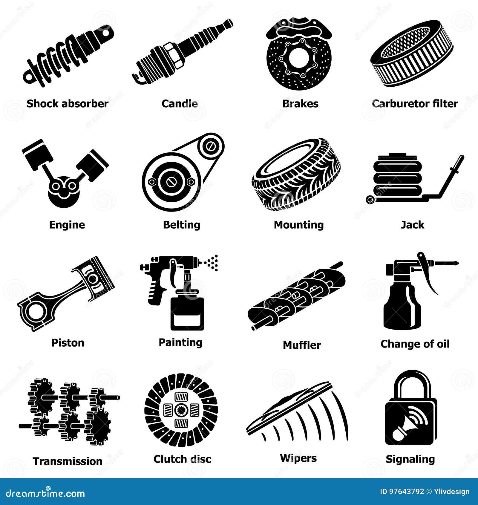 Symboler för bilreparationsdelar ställde in, enkel stil