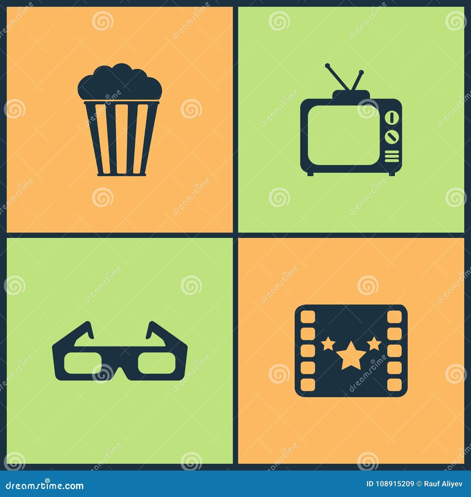 Symboler för bio för vektorillustrationuppsättning Beståndsdelar av projektorn, direktörstol, filmutmärkelse och går av berömmels