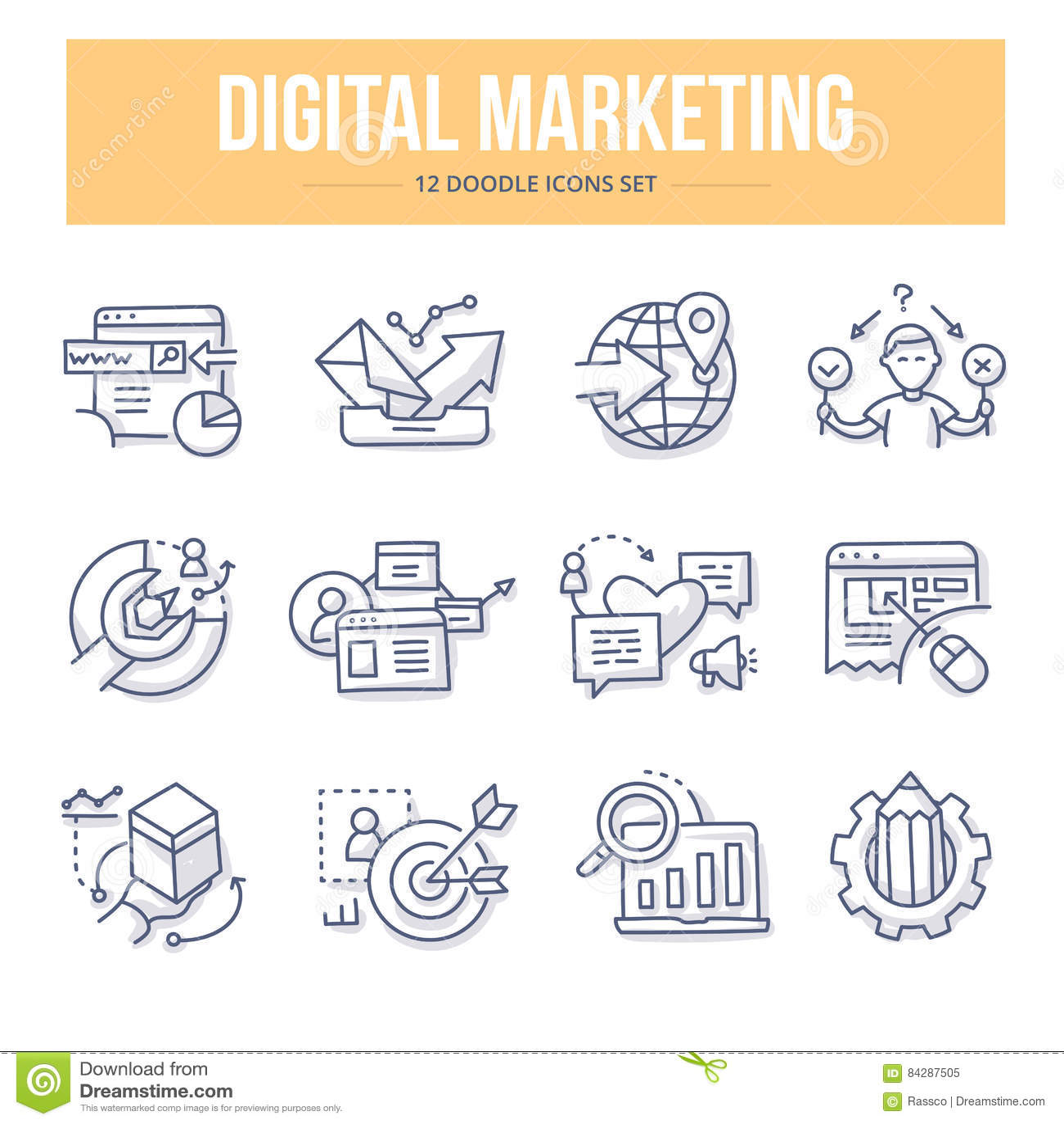 Symboler för Digital marknadsföringsklotter