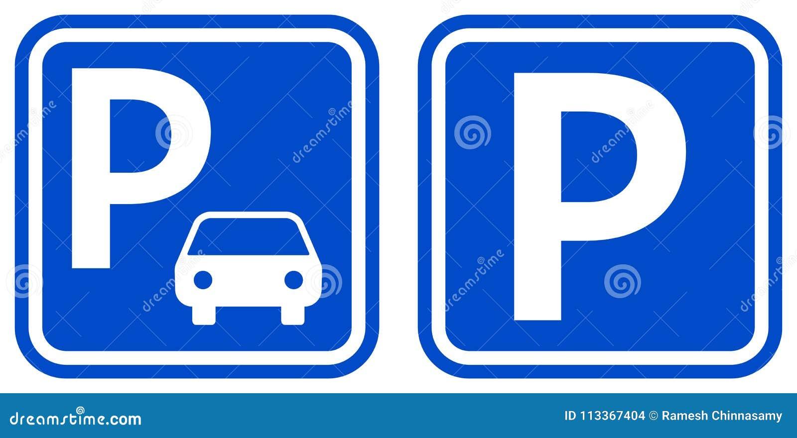 Symboler för färg för parkeringsteckenblått med design två