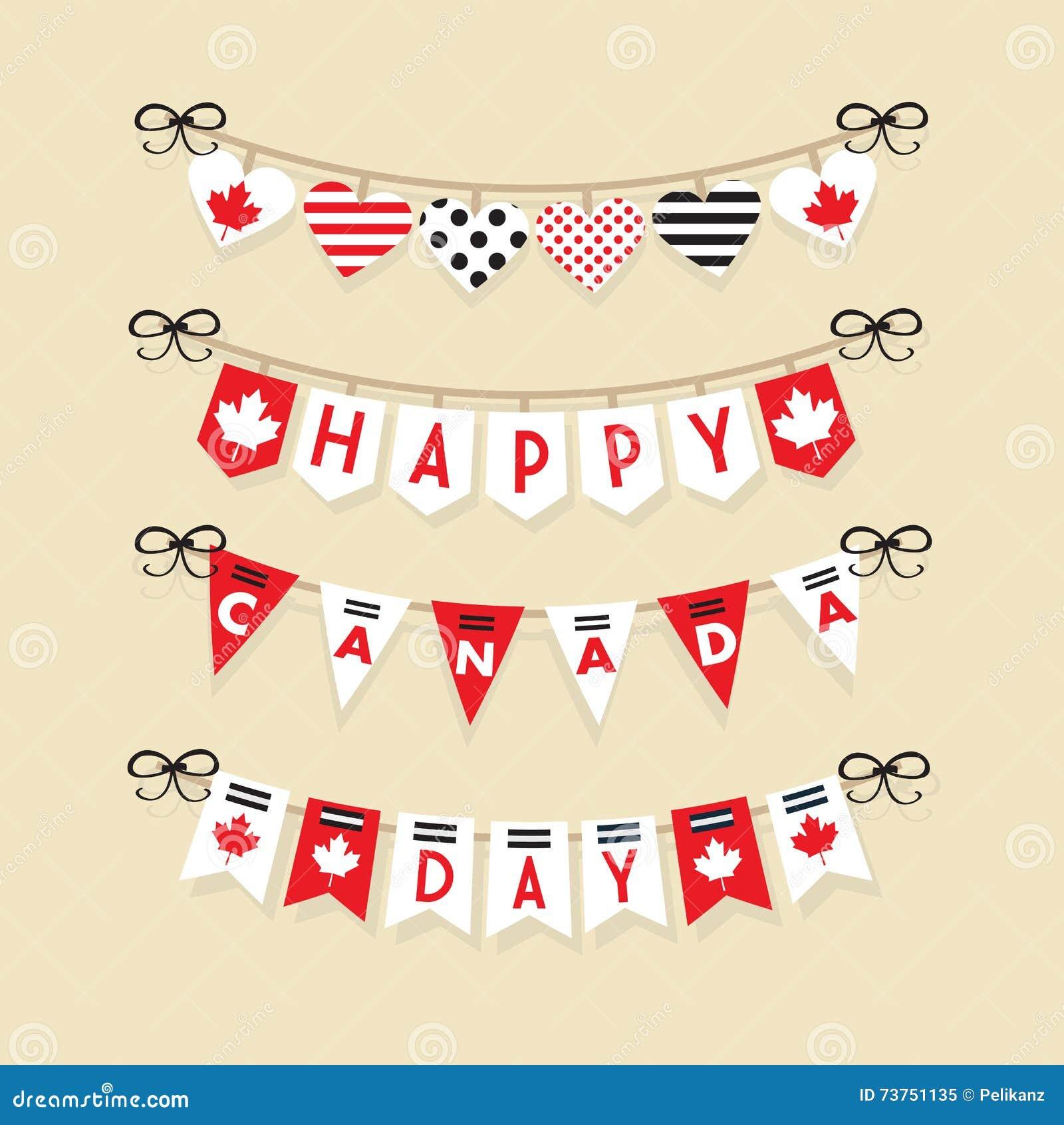 Symboler in för garnering för buntings för den lyckliga Kanada dagen ställde hängande