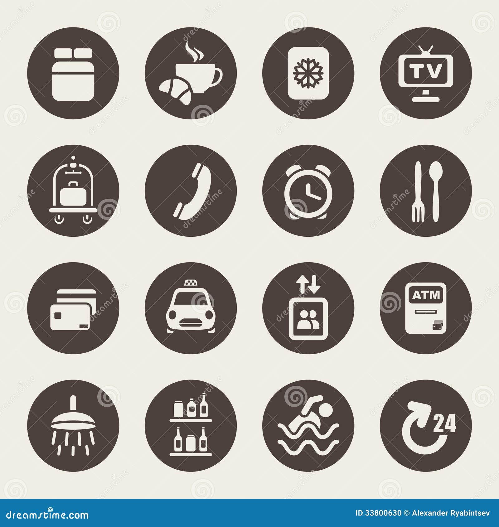 Symboler för hotellservice