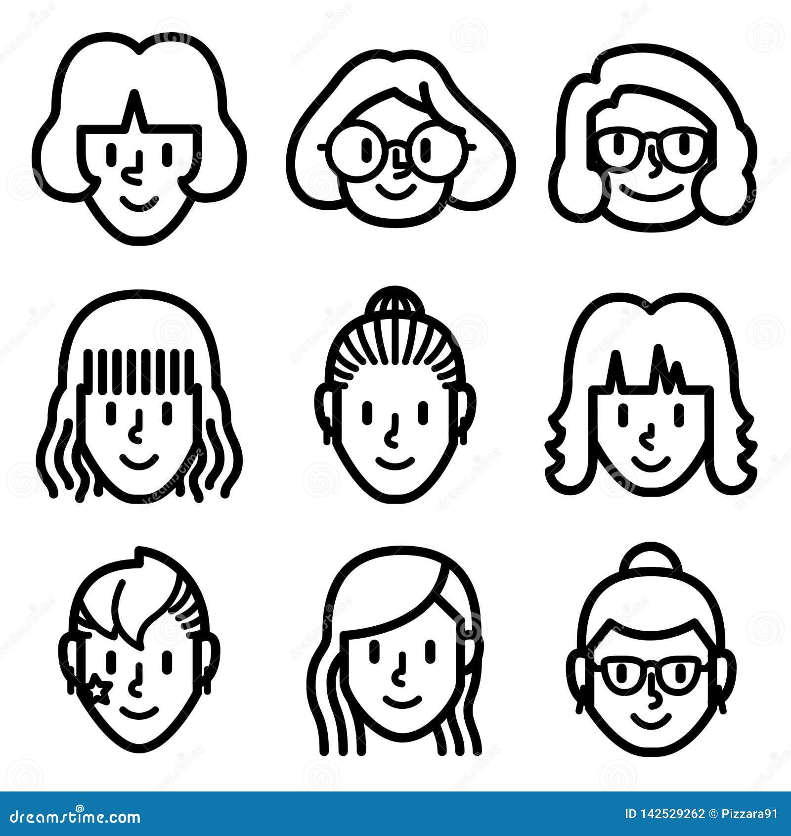 Symboler för kvinna- och flickaframsidaavatar