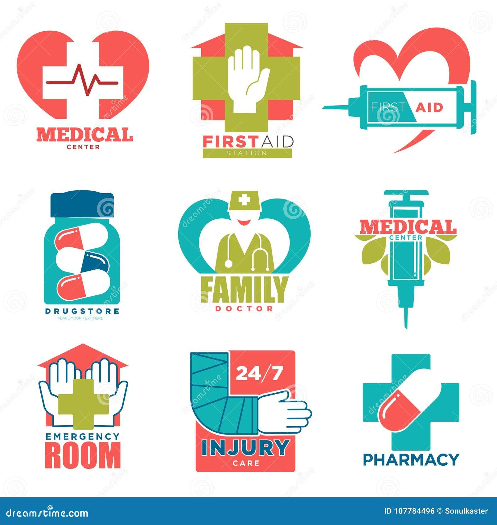 Symboler för läkarundersökningkors- och hjärtavektor för mitt för första hjälpenmedicin- eller doktorssjukhus
