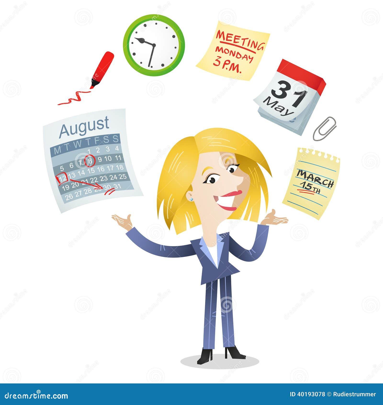 Symboler för ledning för tid för affärskvinna