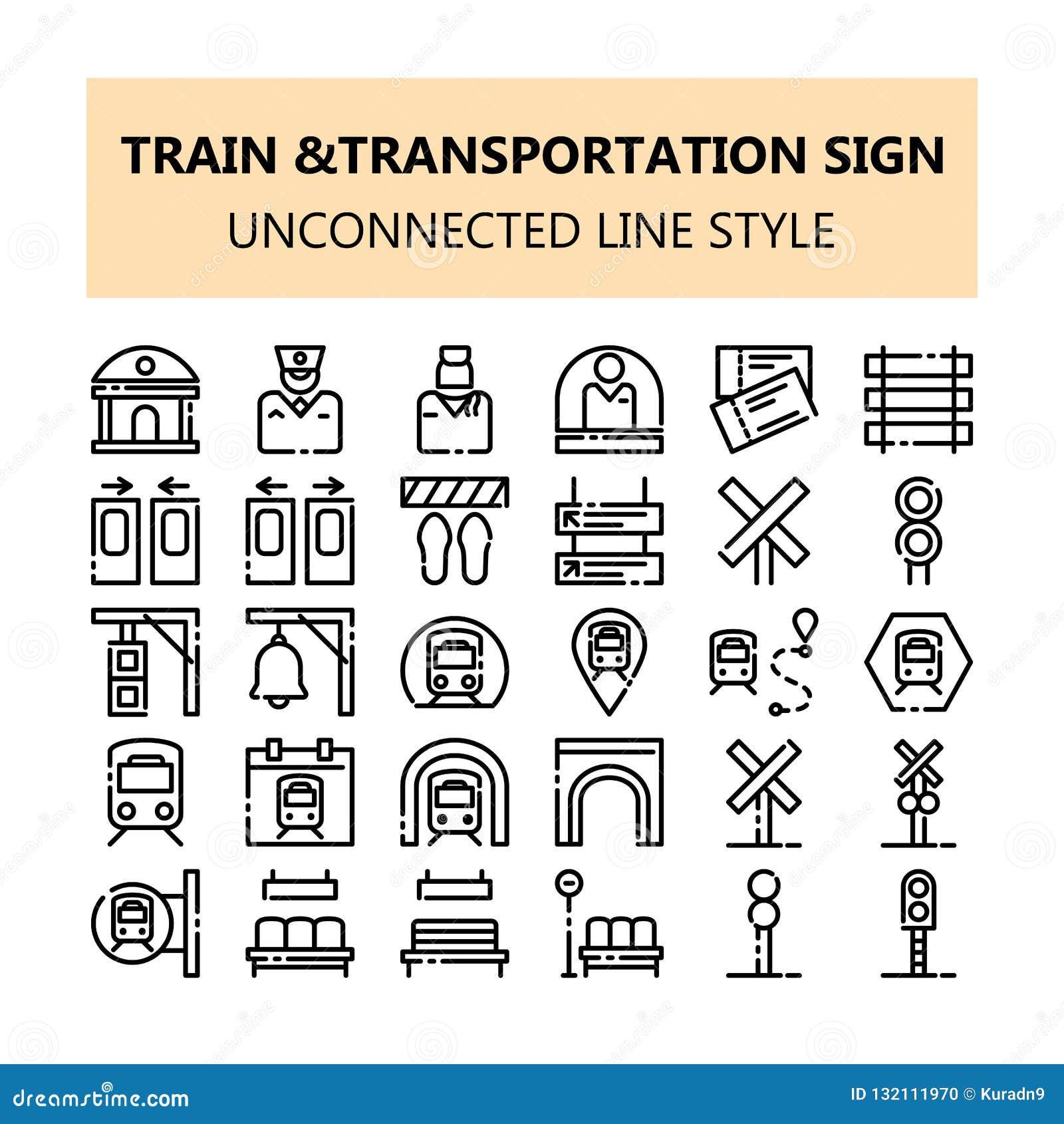 Symboler in för PIXEL för drevtrans.tecken ställde perfekta i den osammanhängande linjen stil för översikten