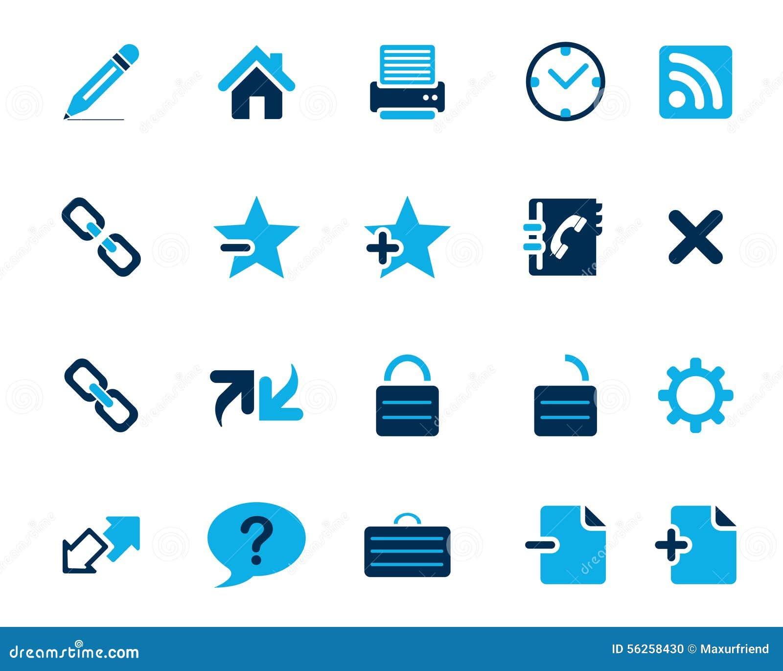 Symboler för rengöringsduk och för kontor för materielvektorblått i hög upplösning