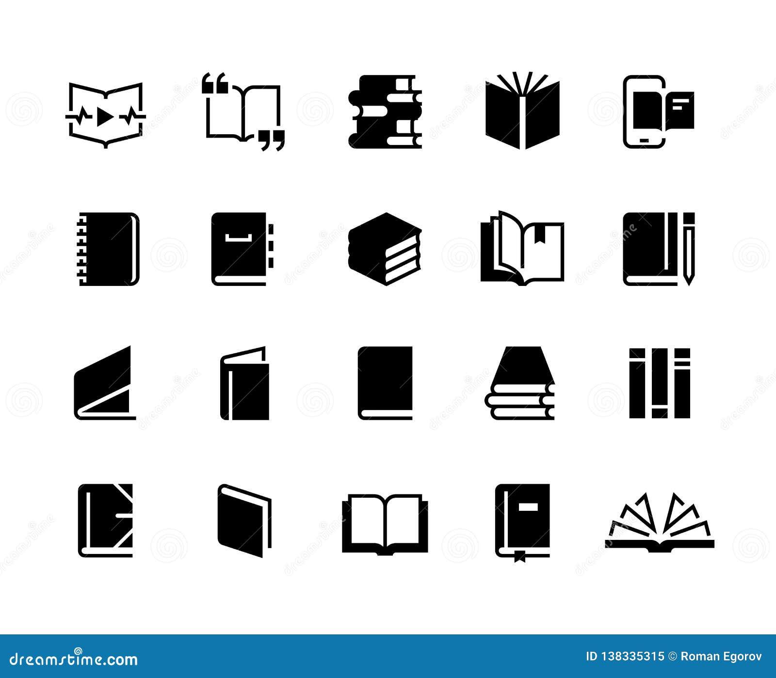 Symboler för svarta böcker Uppsättning för studieutbildningsbok, samling för affär för bibel för läroboktidskriftdagbok rengöring