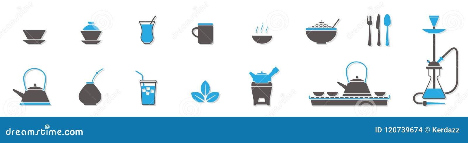 Symboler för tekoppar och kokkärl